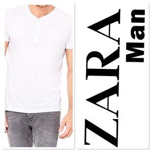 Zara Men's Short Sleeve Henley T Shirt Sz SM Soft